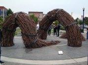 Mark Baugh-Sasaki: Adaptations, 2013, steel, found branches, outdoor installation